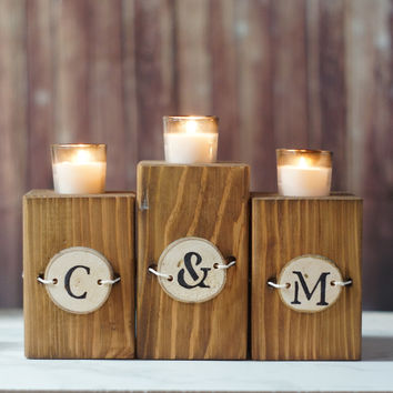 Reclaimed Wood Candle Holder Personalized