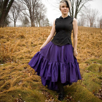 Steampunk Skirt Victorian Royal Purple Asymmetrical Hem- Custom to your Size
