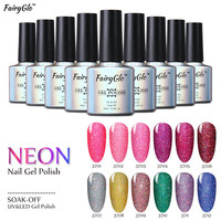 FairyGlo 10ml UV Gel Nail Polish Neon Color UV Lamp Soak off Gel Polish Bling Gel Lak 1pcs Vernis Semi Permanent Gelpolish