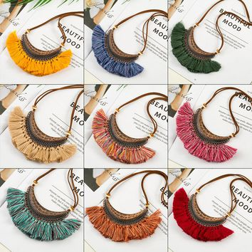 New Vintage Bohemian Tassel Necklace Ethnic Short leather rope Chain Fashion Fringed Big Pendant Choker Jewelry For Women