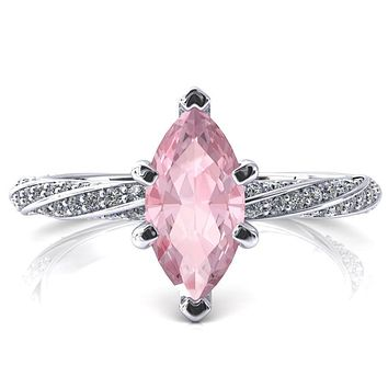 Elysia Marquise Pink Sapphire 6 Prong 3/4 Eternity Diamond Accent Ring