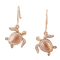 Sterling Silver Rose Gold Plated Alamea Hawaii Pave CZ Turtle Dangle Earrings