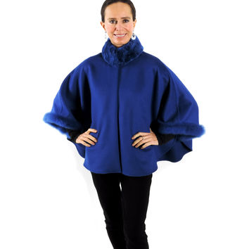 Baby Alpaca Cape with Fur Collar and Sleeves - Royal Blue