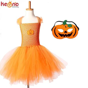 Halloween Jack o Lantern Tutu Dress Personalized Girls Pumpkin Tulle Dress with Matching Mask Kids Ghost Clothing for Party
