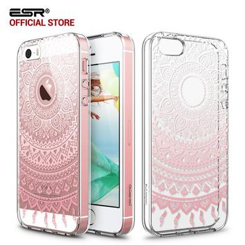 Case for iphone 5s/SE/5, ESR Totem Henna Hybrid case Clear Soft TPU Hard Back Case printed Protective Cover for iphone SE/5s/5