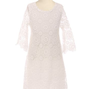 Girls Ivory Floral Lace Shift Dress with Long Sleeves 2T-10