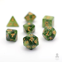 Moss Green Pearl Dice Set With Gold Numbers