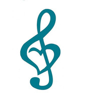 Treble Clef Heart Car Decal, Computer Decal, Music Note, Turquoise, Blue, Pink, Green, Yellow