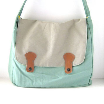 Retro Aqua Utility Messenger Bag by RACHELelise on Etsy