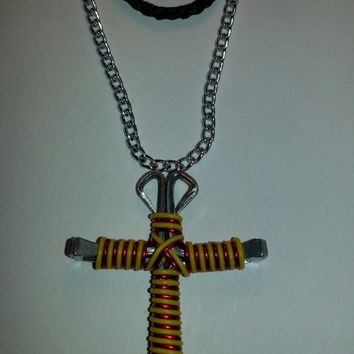 Yellow and red candy cane wire wrapped horseshoe nail cross necklace jewelry