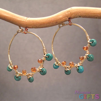 "Turquoise and madarin garnet wrapped around small hammered hoops, 3/4"" Earring Gold Or Silver"