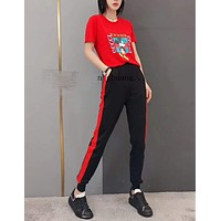 """""""Gucci"""" Woman Leisure Fashion Letter Little Mickey Personality Printing Crew Neck Short  Sleeve Tops Stripe Trousers Two-Piece Set Casual Wear Sportswear"""