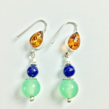 Amber, Lapis and Aventurine Silver Earrings