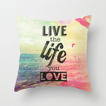 Live Life Love Throw Pillow by M Studio