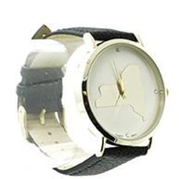 New York State Leather Band Fashion Watch