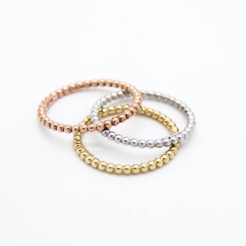14k solid gold ball rings set