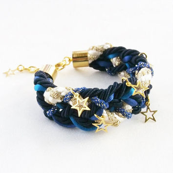 Galaxy bracelet with gold star charm , navy blue and black , teenage girl gift
