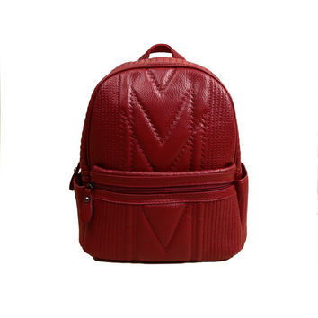 Red Faux Leather Zipper Closure Adjustable Straps Backpack