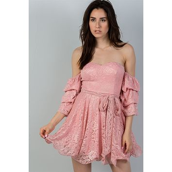 Ladies fashion flounce-hem off the shoulder lace mini dress