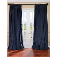 Half Price Drapes VPCH-VET-1215-108 Signature Midnight Blue Double Wide Velvet Blackout Pole Pocket Single Panel Curtain, 100 X 108