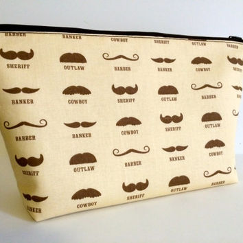 Extra Large Cosmetic Bag Toiletry Bag Travel Bag Makeup Bag in Western Mustache
