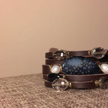 Dark Brown Leather Bracelet with Agate Stone, Crystals, and Natural Freshwater Pearls Bracelets