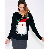 Cartoon Santa Claus Thickened Long Sleeve Christmas Sweater Women Casual Tops