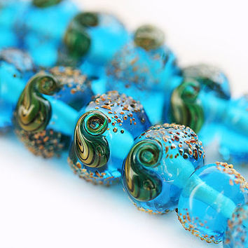 Aqua blue handmade lampwork glass beads sea ocean by MayaHoney
