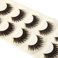 5 Pairs False Eyelashes Pure Hand-made Thick Long Voluminous Fake Lashes H10851 Cosmetic (Color: Black) = 5979033729
