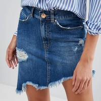 River Island Distressed Angled Hem Denim Skirt at asos.com
