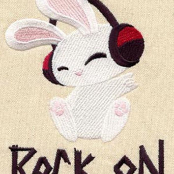 Rock on Rabbit embroidered baby bib by MorningTempest on Etsy