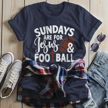 Women's Football T Shirt Sundays Are For Tshirt Football Jesus Shirts Vintage Graphic Tee