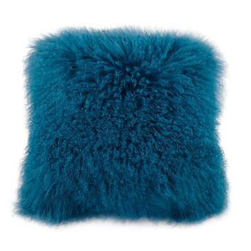 A Home Mongolian Lamb Fur Pillow, Blue White