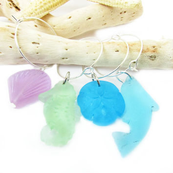 Sea Life Wine Glass Charms Set