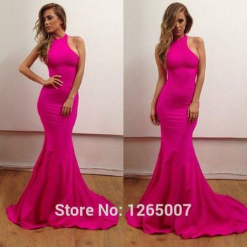 New Arrival Simple Style Halter Slim Fitted Long Mermaid Prom Dresses 2015 Sexy Women Fashion Prom Maxi Gowns