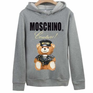 Moschino 2018 autumn new police officer bear print hooded long-sleeved sweater Grey