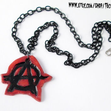 ANARCHO PUNK NECKLACE Anarchy symbol anarchist diy necklace