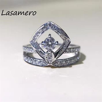LASAMERO 0.182CT 18k Gold Natural Diamond Square Shape Round Cut Ring Accents Engagement Wedding Ring