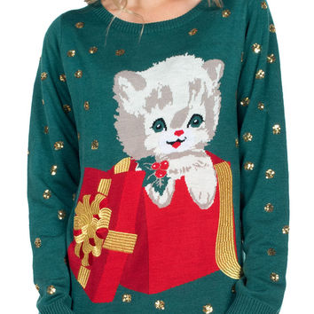 Women's Kitty Present Ugly Christmas Sweater