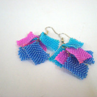 Unique Bubble Gum Earrings, Beaded Earrings, Everyday Earrings, Colorful Earrings, Monsoon Earrings, square tile earrings