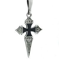 Black Inlay Iron Cross Dagger Necklace