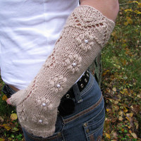 Knit fingerless gloves with lace pattern, long wool arm warmers / wrist warmers in beige, WEEKEND SALE