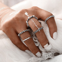 5PCS/SET Vintage Design Rock Jewelry Ring Set For Woman NEW Fashion Sliver Color Gold Color Rings Jewelry Party Gift   0527