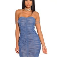 Yulia Strapless Ruched Blue Mesh Off Shoulder Tie Bodycon Dress
