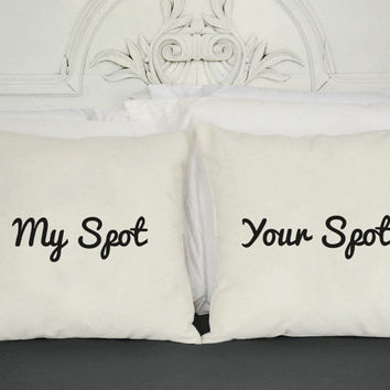 Set of 2 My Spot and Your Spot Canvas Throw Pillows-Pillow Covers and or Cushions- 14x14 or 16x16, White or Natural