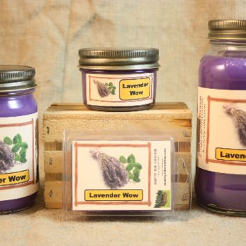 Lavender WOW Scented Candle, Lavender WOW Scented Wax Tarts, 26 oz, 12 oz, 4 oz Jar Candles or 3.5 Clam Shell Wax Melts