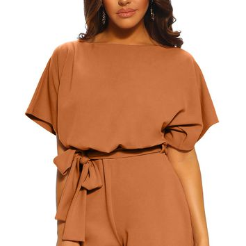 Cozy Brown Over The Top Belted Playsuit
