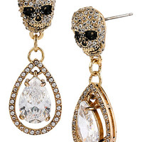 ALL THAT GLITTERS SKULL DOUBLE DROP EARRINGS