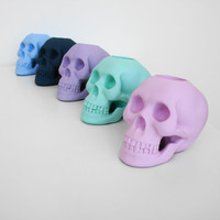 Candle Holder, Skull, Pastel, Votive Holder, Summer, Skull Decor, Seafoam