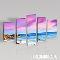 CANVAS ART - Blue Sea at Colorful Sunset Canvas Print 5 Panels - Best Quality Print for Great Home Decorations - Pink Beach